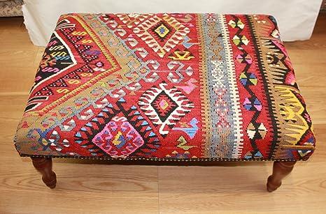 Wonderful intrecciato a mano turco kilim sgabelli dimensioni
