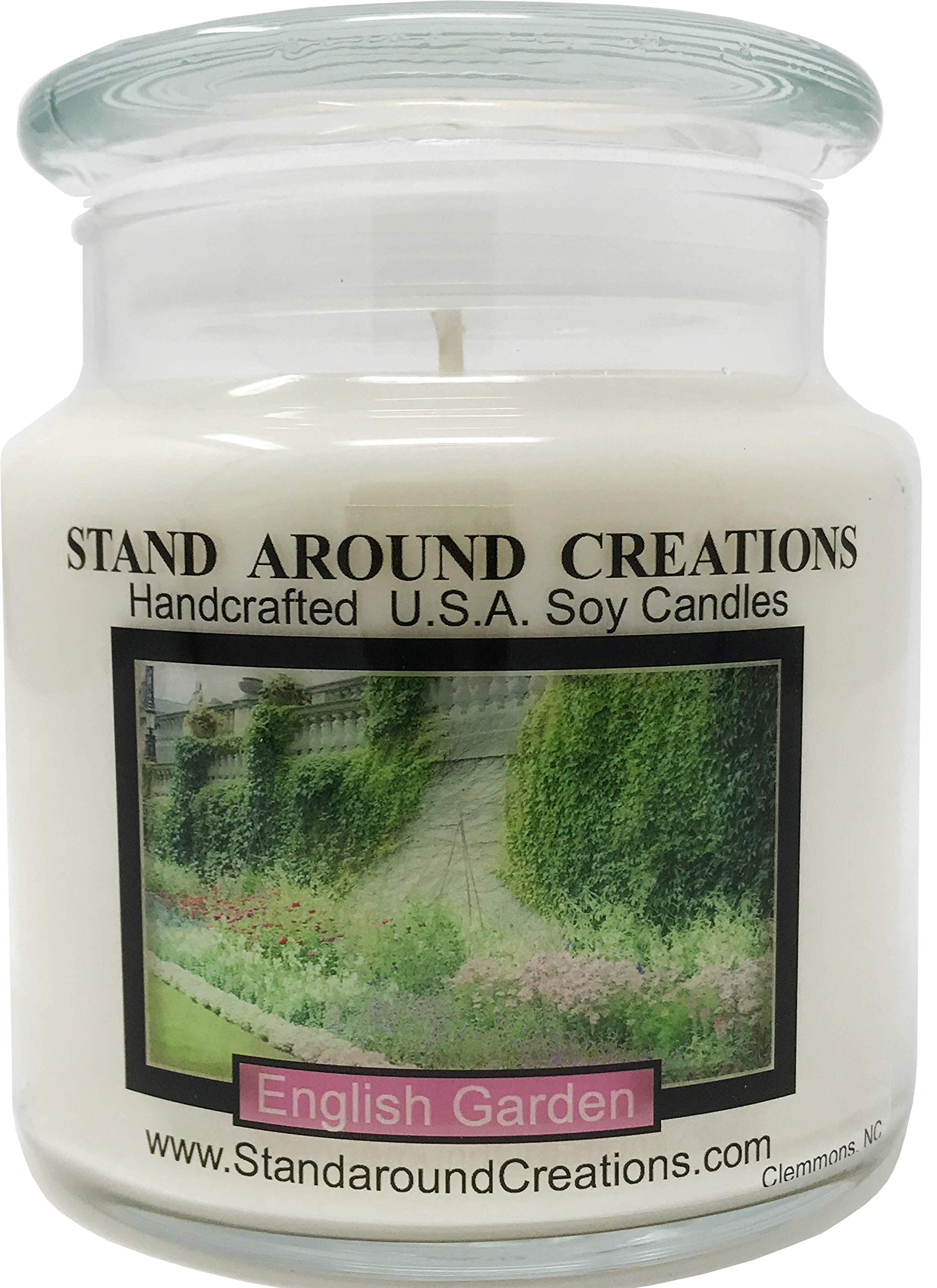 Premium 100% Soy Apothecary Candle - 16oz. - English Garden - Notes of lily, lilac, rose & hyacinth stand out in this must have fragrance for floral lovers. Made w/natural essential oils.