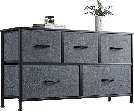 Wlive Dresser With 5 Drawers Dressers For Bedroom Fabric Storage Tower Hallway Entryway Closets Sturdy Steel Frame Wood Top Easy Pull Handle Amazon Com