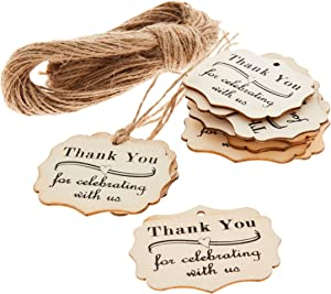Juvale 100-Pack Wood Thank You Tags with Twine for Wedding and Baby Shower Party Favors, 2 Inches