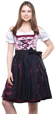 758a3f53b1bd21 Dirndlspatz Dirndl Damen Set 3 teilig Johanna Lila Schwarz Gr 34 36 38 40  42 44 Festliches Midi Dirndl Blumen Trachtenkleid mit Spitzenschürze 3 tlg  ...