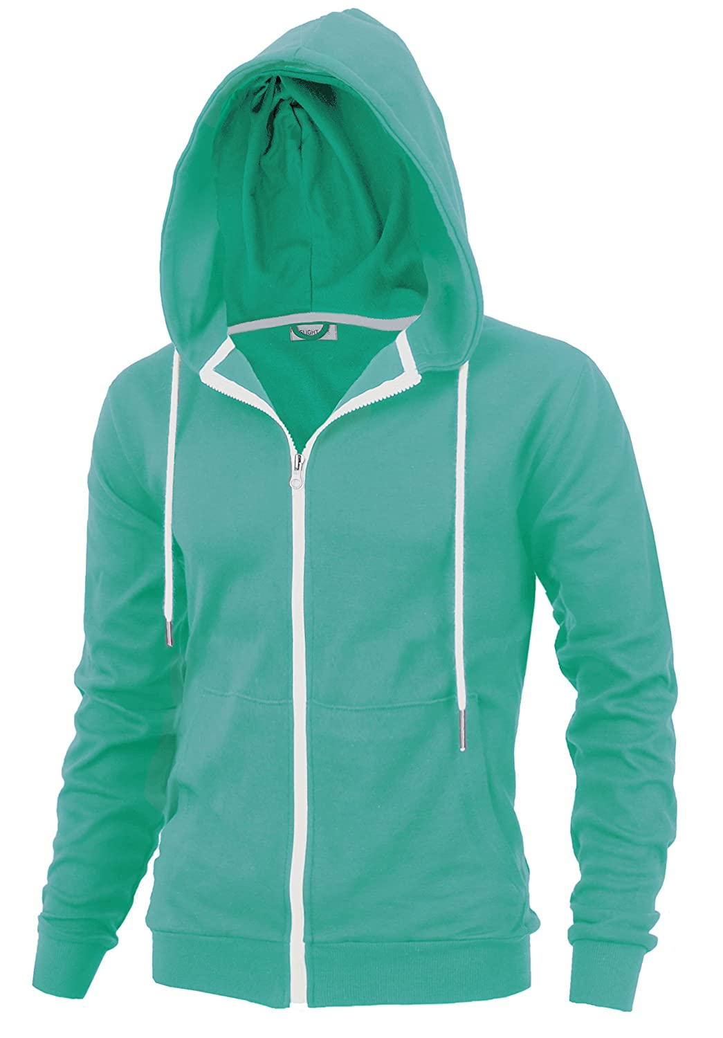 """DELIGHT"" Men's Fashion Fit Full-zip HOODIE with Inner Cell Phone Pocket"