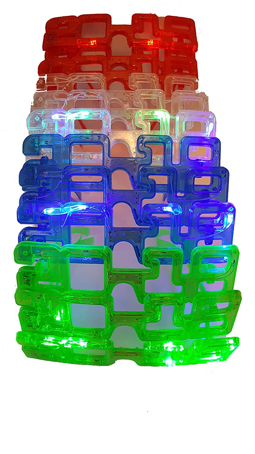 2018 Happy New Years Eve Glasses Light Up Times Square Jumbo Flashing Led Lights With 1 Dozen 12 In A Pack Assorted Colors Sold By