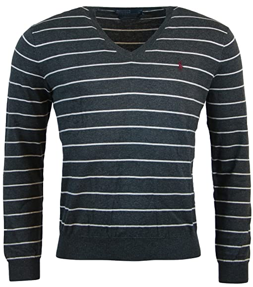Polo Ralph Lauren Mens Pima Cotton Striped V-Neck Sweater - XXL - Gray/