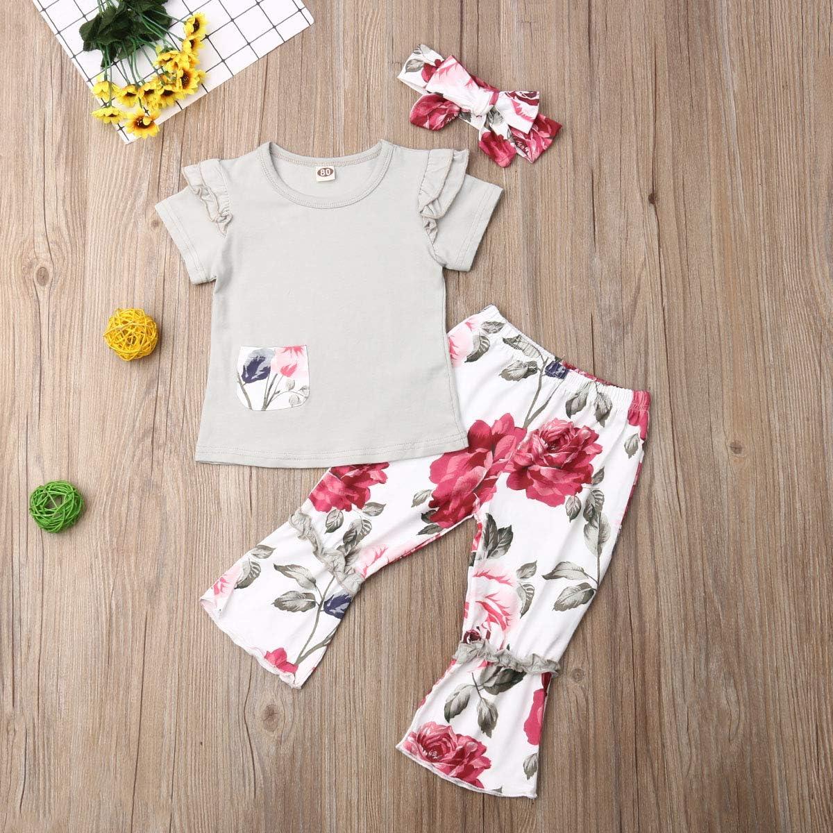 Newborn Infant Baby Girl Clothes Pocket Flower Ruffle Short Sleeve T-Shirt Top+Floral Pants Headband Outfits Set