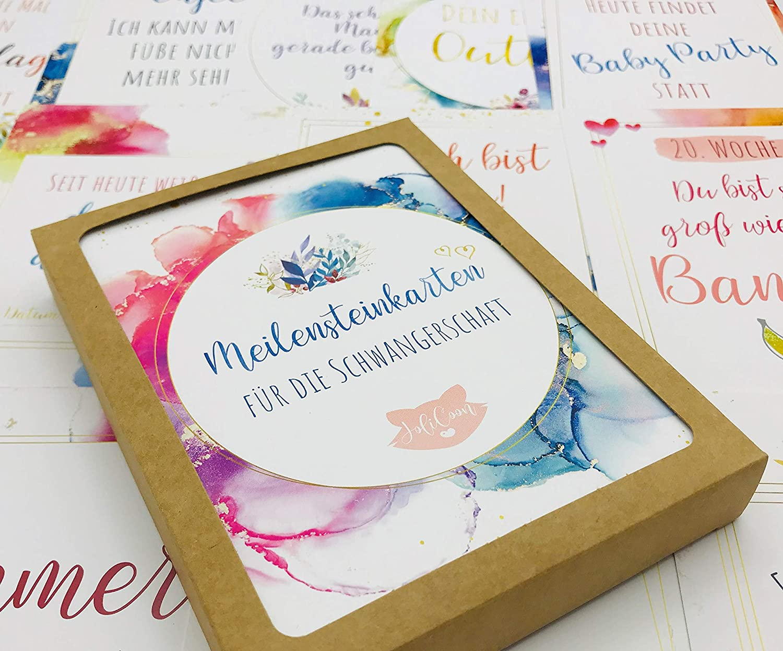 Geschenk zur Geburt oder Schwangerschaft Geschenkidee Babyparty Milestone Cards Baby Meilenstein Karten 45 MEILENSTEINKARTEN Baby Fotokarten f/ür 1 Monatskarten erstes Jahr Lebensjahr