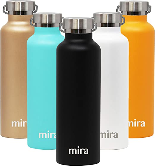 MIRA Insulated Stainless Steel Water Bottle - Alpine Vacuum Insulated Thermos Flask with 2 Lids - Keeps Water Cold for 24 Hours, Hot for 12 Hours - Hydro Bottle BPA-Free Cap - Black - 25 oz