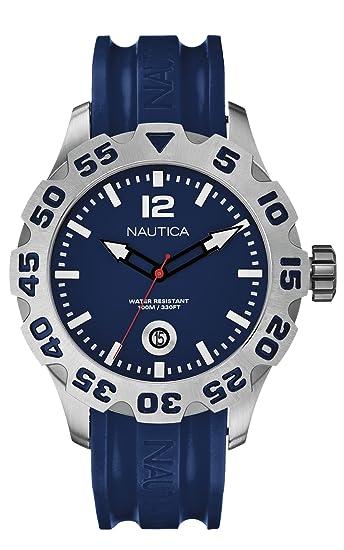 Nautica A14601G - Reloj analógico de cuarzo para hombre, correa de silicona color azul