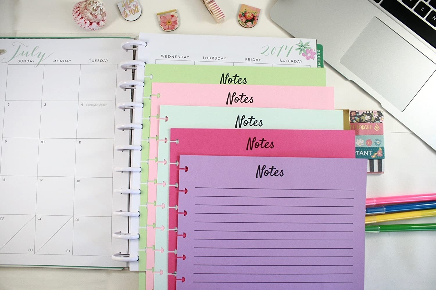 The Big Happy Planner Colored Refill Pages Soda Pop, Big Happy Planner Notes Refills, Pre-punched Happy Planner Inserts, Pre-punched Notes Refills