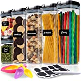 Airtight Food Storage Container Set 6 Pieces - Kitchen & Pantry Organization Containers for Cereal, Flour - BPA-Free Clear Pl