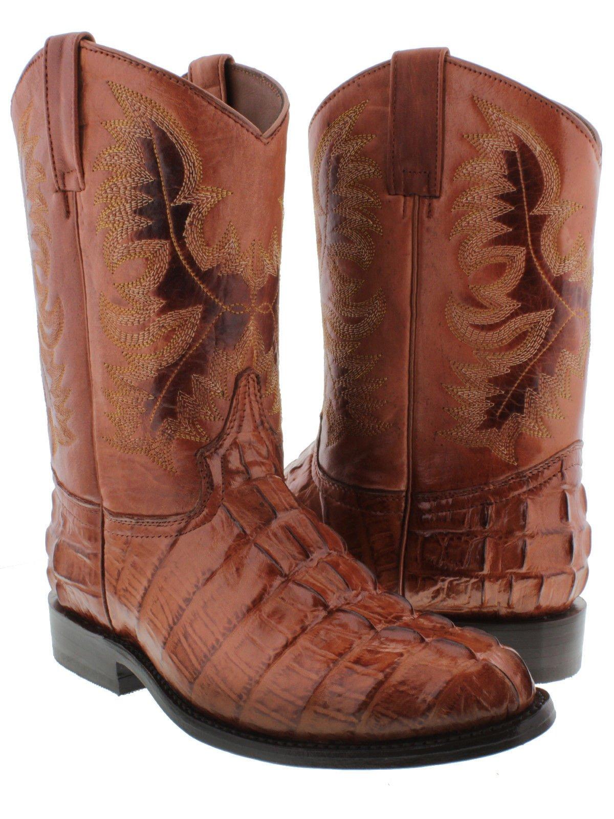 El Presidente Men's Cognac Crocodile Tail Design Leather Cowboy Boots Roper 13.5 EE