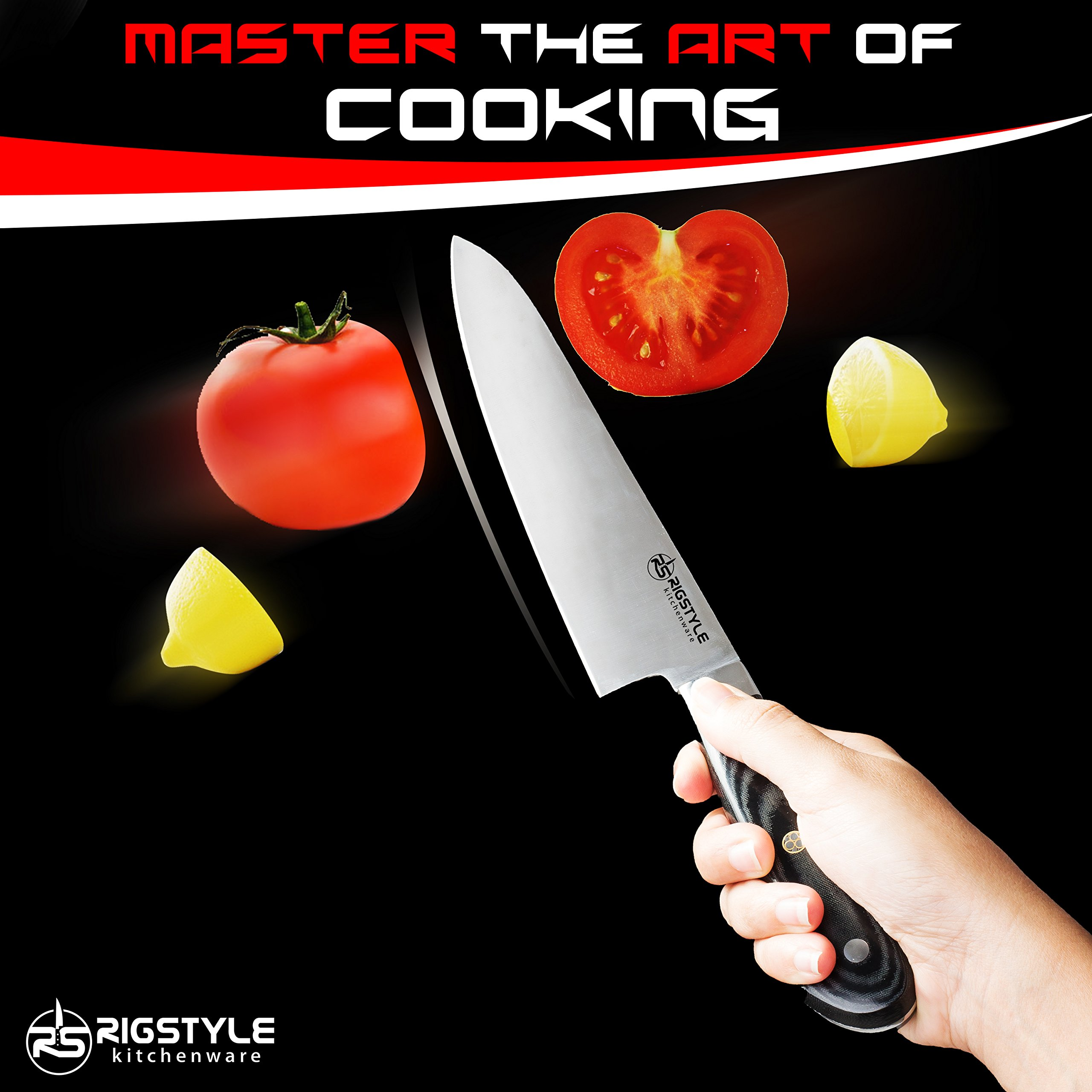 RIGSTYLE German Chef Knife 8 inch, High Carbon Stainless Steel, Sharp Blade with Ergonomic Handle for Professional Restaurants & Home Kitchens, Meat, Fish, Chicken & Vegetables Chopper, with Gift Box by RIGSTYLE (Image #9)