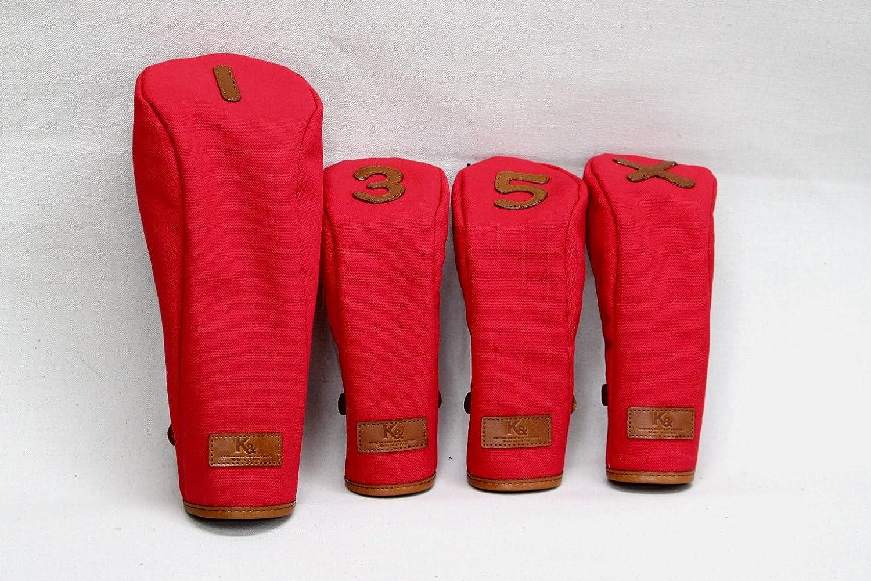 HC-STD ヘッドカバー(Tanning leather×レッド帆布)K&   B01HSTXRGY