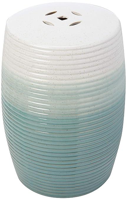 """Green Oriental Furniture 18/"""" Blue-Green Porcelain Garden Stool"""