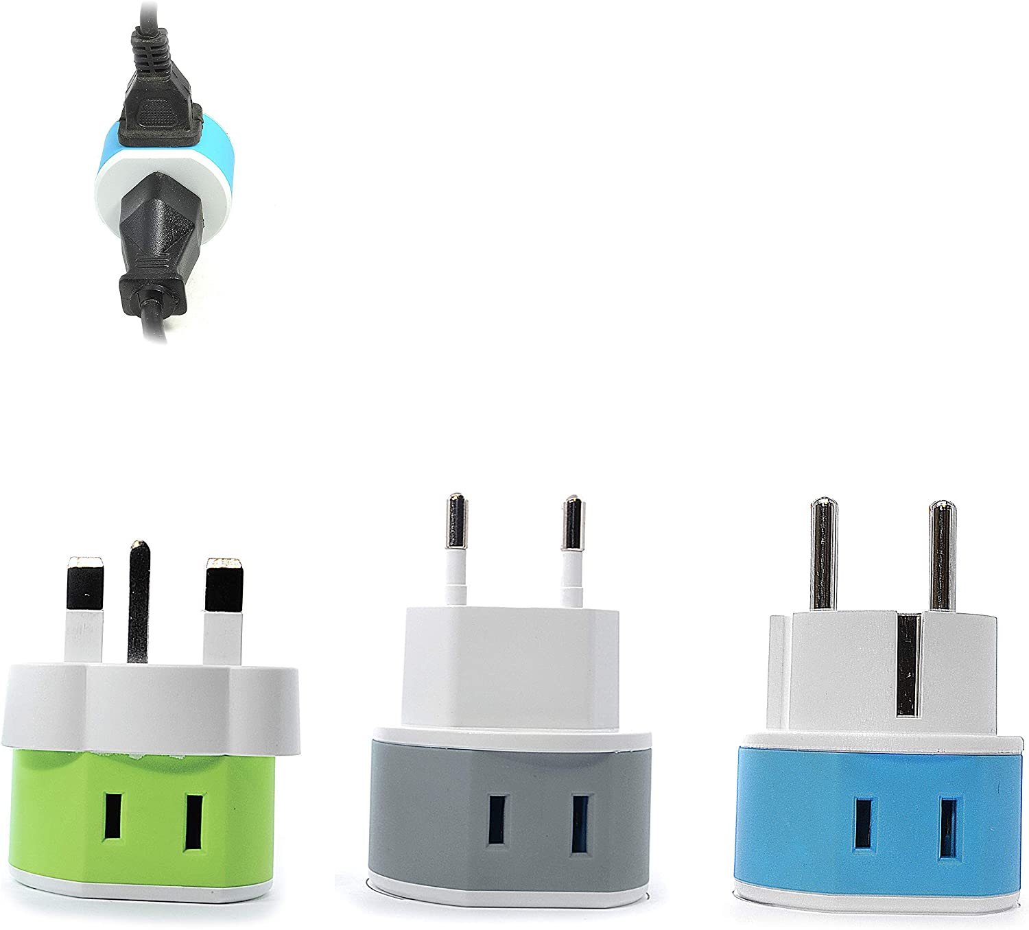 Full European Travel Adapter Set by OREI - Dual Input American to Europe, Germany, England, Spain, Italy, Iceland, France, (Type G, E/F, Type C) - 3 Pack, Safe Grounded Use for Cell Phones, Laptops