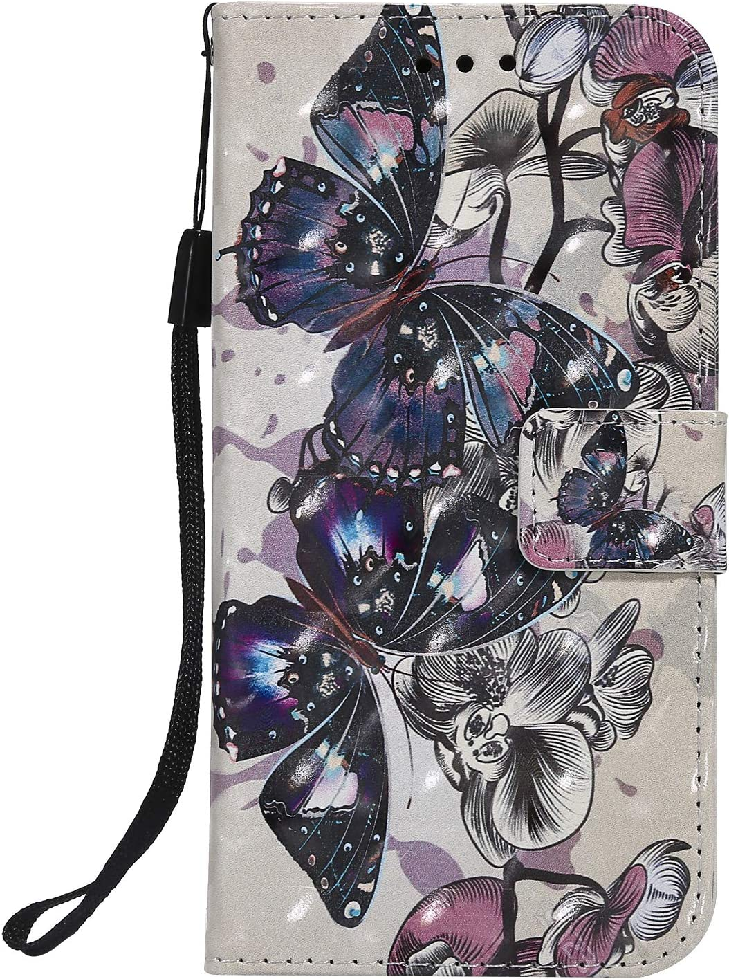 Wind Chimes Wallet Leather Case for iPhone XR,Aoucase Fancy 3D Painted Full Body Magnetic Soft Silicone Card Slot Strap Stand PU Leather Case with Black Dual-use Stylus