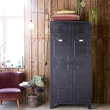huge selection of de83d 2a6e4 Tikamoon Industrial Style Metal Bedroom Wardrobe 2 Doors ...