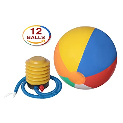 "12-Pack of Inflatable Beach Balls with Air Pump Inflator with Flexible Pipe – 14"" Inch Colorful Rainbow Balls for Kids - Use as a Swimming Tube / Play Volley Ball / Pool Party Toy - By DG Sports"