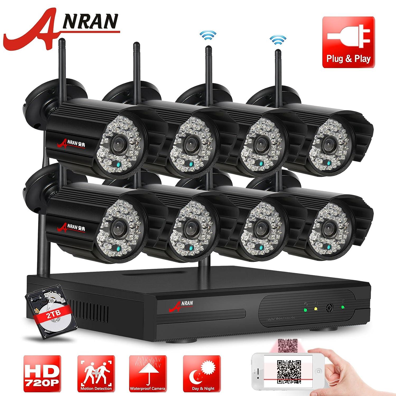 ANRAN 8 ch 720p inalámbrica Wifi NVR Kit sistema de seguridad Inicio vigilancia con 48pcs la luz infrarroja 1.0 MP Interior/exterior IP visión nocturna ...