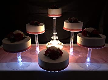 Amazon Com Multi Tier Wedding Cake Stand With Led Lights And