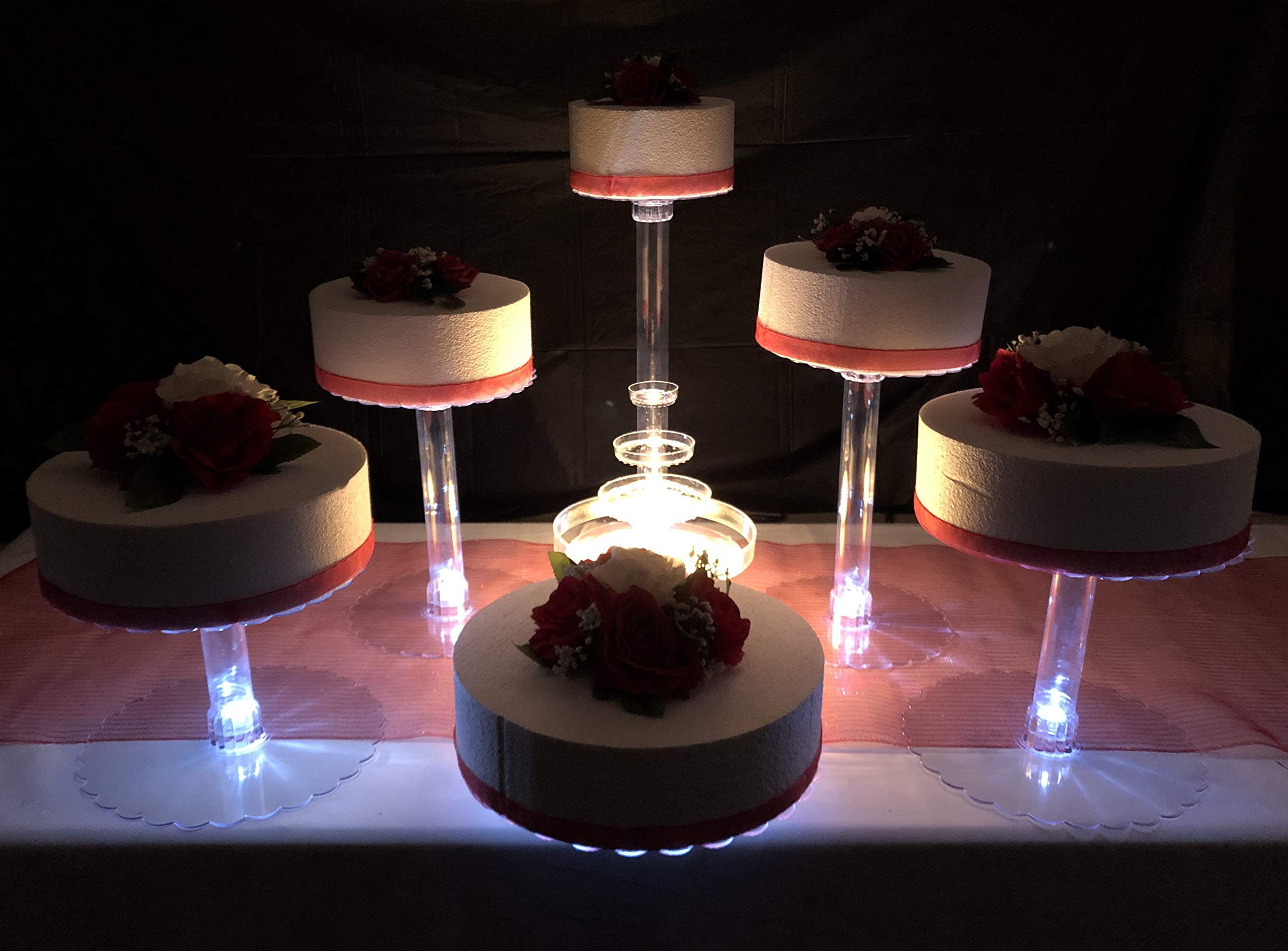 Multi Tier Wedding Cake Stand with LED Lights and Optional Water Fountain (6 Tier Stand, With Fountain)
