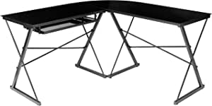 AmazonBasics Three Piece Corner Gaming Computer Desk - Black with Black Glass