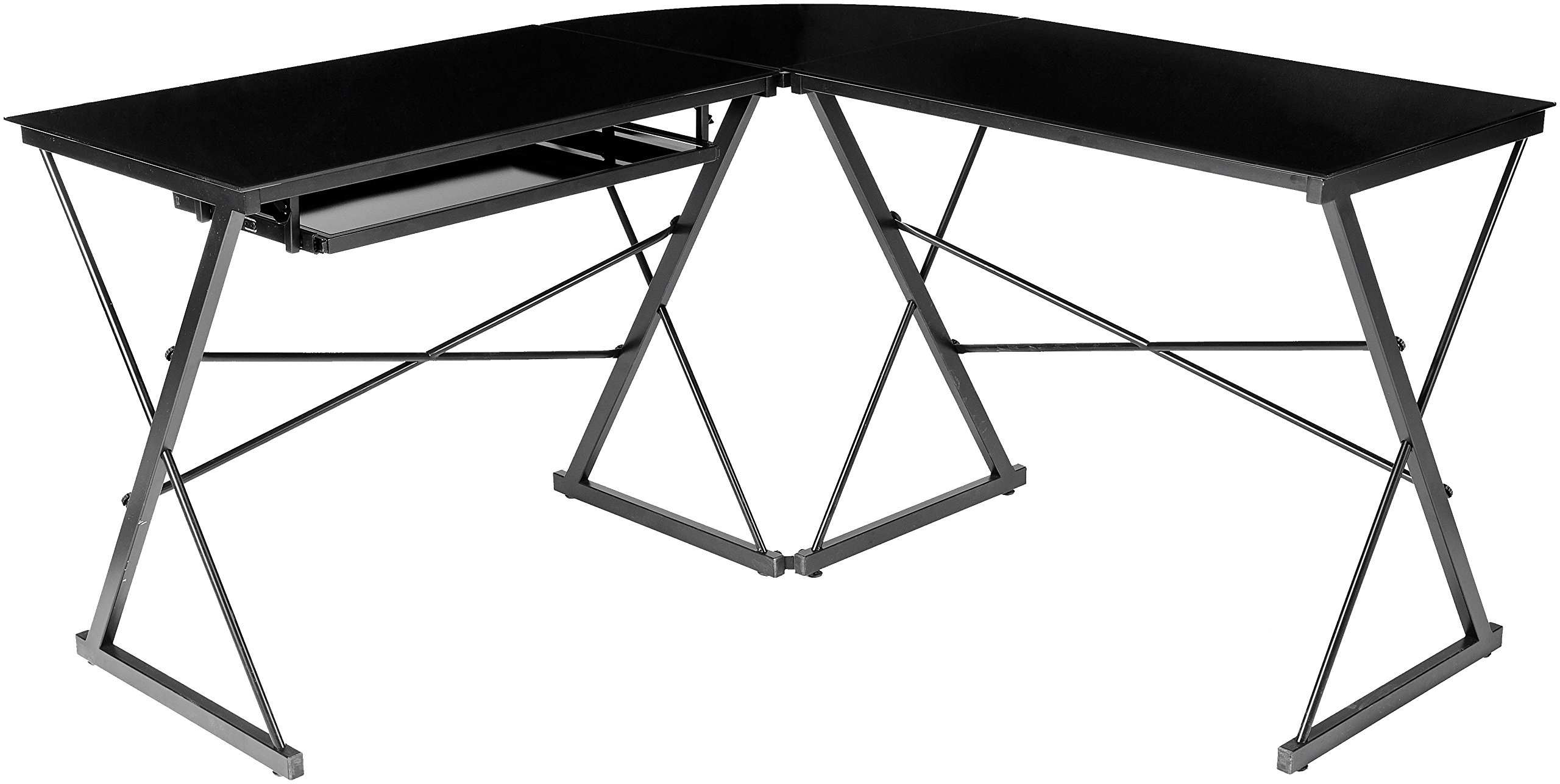 AmazonBasics Three Piece Corner Gaming Computer Desk - Black with Black Glass - 3-piece modular desk with contemporary, minimalist style; can be separated into 2 desks Smooth work surface made of black tempered safety glass (polished and beveled) Includes independent CPU stand and sliding keyboard tray that can be mounted on either side - writing-desks, living-room-furniture, living-room - 815ZHqiP8xL -