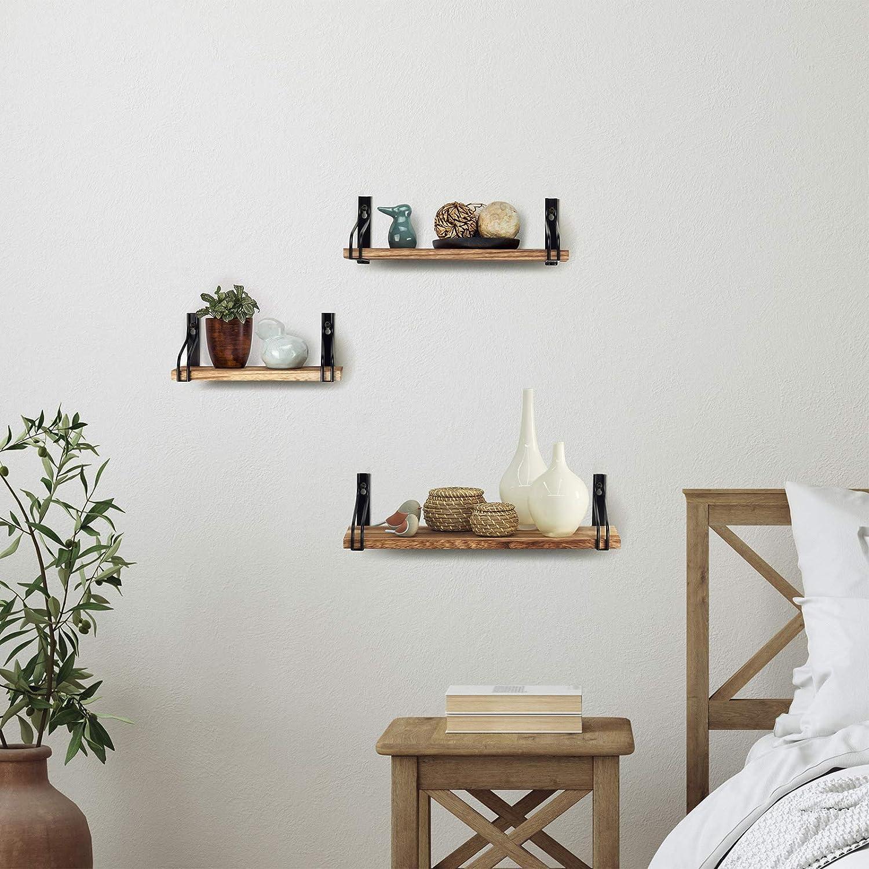 /étag/ères flottantes cuisine /étag/ères rustiques salon d/écoration pour chambre /à coucher TJ.MOREE Lot de 3 /étag/ères murales en bois marron pour salle de bain
