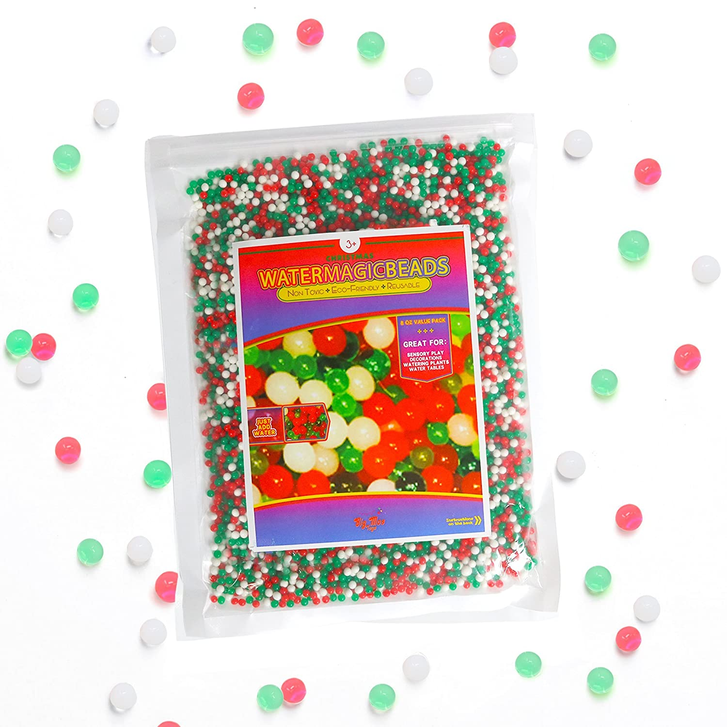 Big Mo's Toys Floral Christmas Pearl Water Beads - Red Green and White Christmas Gel Balls for Vase Or Candle Fillers for Centerpiece Big Mo' s Toys