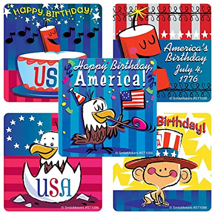 Amazon Com Smilemakers Happy Birthday Usa Stickers 4th Of July