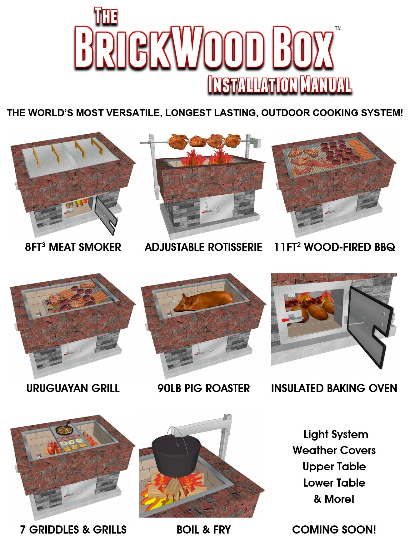 Commercial-Duty Stainless Steel Caja Style Pig Roaster Package for the BrickWood Box Outdoor Cooking System