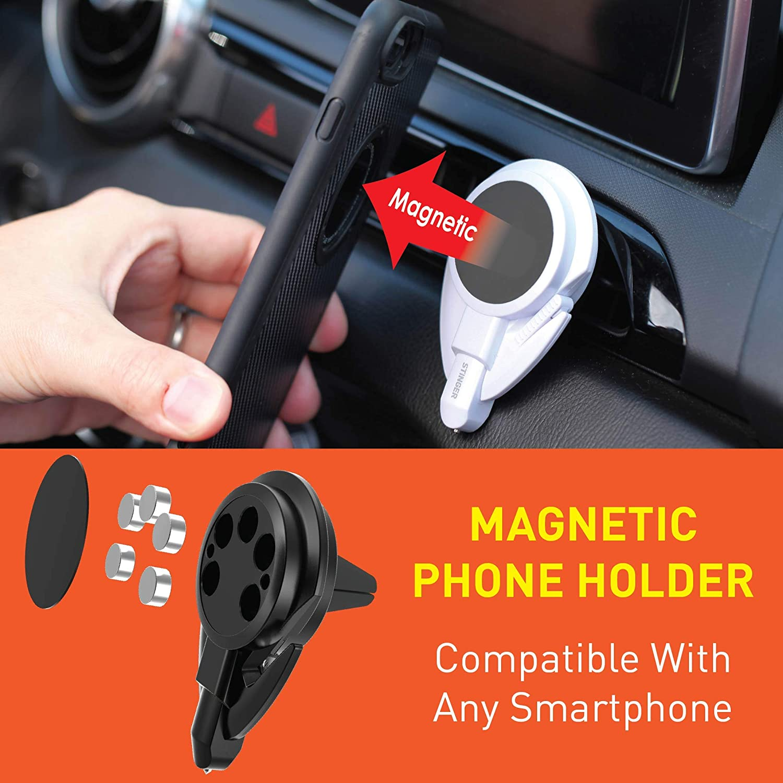 Seat Belt Cutter Spring Loaded Window Breaker Black Ztylus Stinger 3 in 1 Magnetic Phone Holder Cradle for Car Dashboard//Air Vent Mount Vehicle Emergency Escape Tool