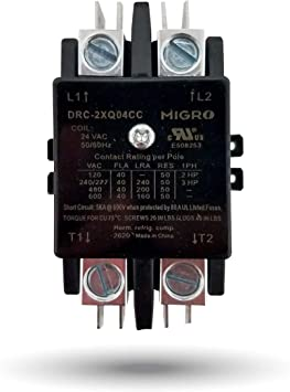 Amazon Com Migro 2 Pole 40 Amp Heavy Duty Ac Contactor Replaces Virtually All Residential 2 Pole Models 2 Year Warranty Silver Alloy Content Contactors Home Improvement