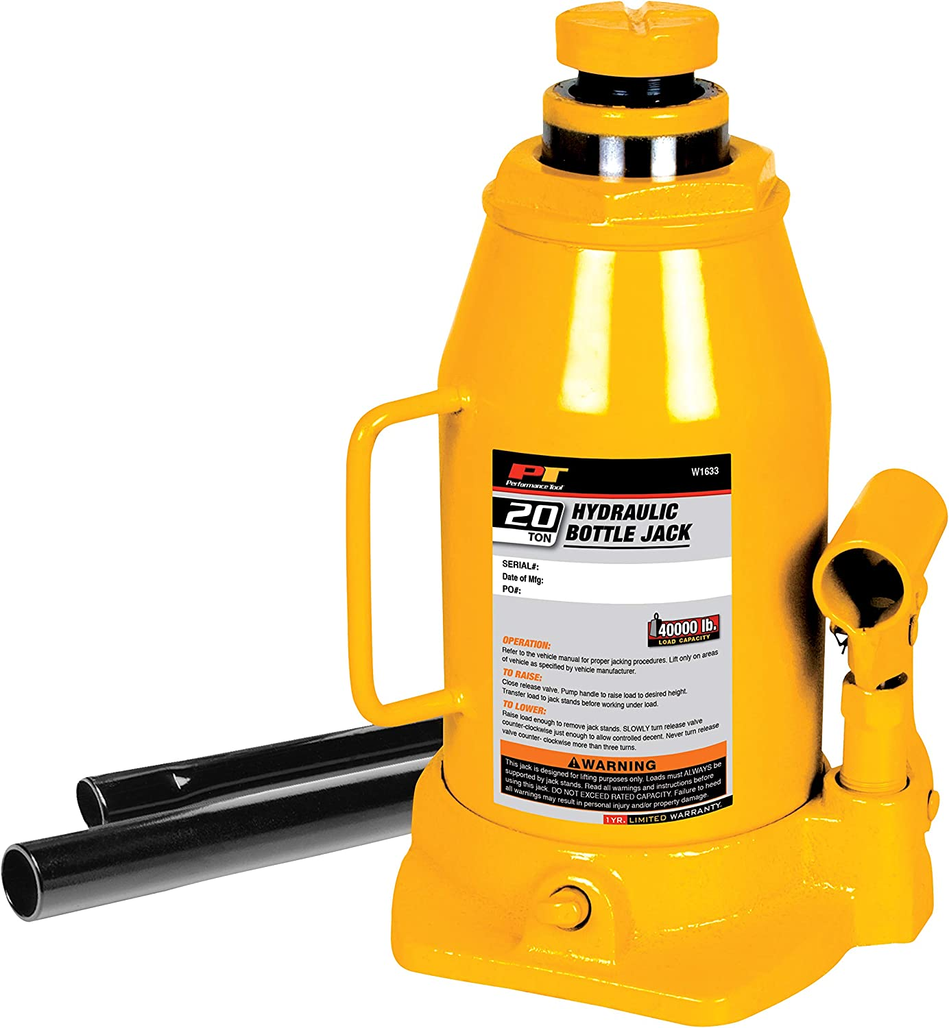 Lift Automotive Tools 20 Ton Hydraulic Bottle Jack Heavy Duty 40,000 Lbs