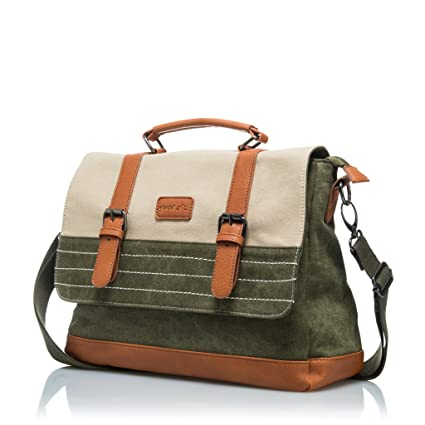 """Travel Messenger Bag - Canvas Cotton Shoulder Bag for Men - Fits 14"""" Laptop    af44b2a050875"""