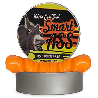 Smart Ass Donkey Dough - Stress Relief Funny Gag Gifts for Adults Weird Gifts Stocking Stuffers Secret Santa Gifts for Coworkers Unique White Elephant Ideas Orange Therapy Putty: Toys & Games