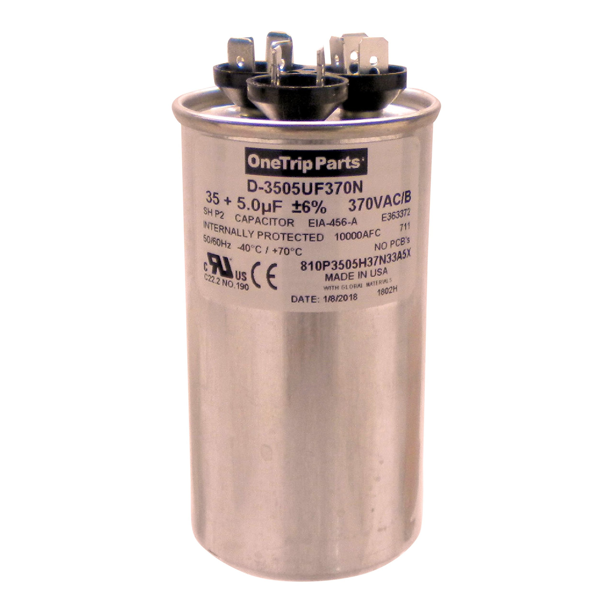 OneTrip Parts USA Run Capacitor 35+5 uF 35/5 MFD 370 VAC Round Replacement For York Coleman Evcon Luxaire S1-02423998700