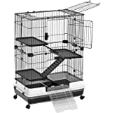 SONGMICS 4-Level Small Animal Pet Cage, Ferret Chinchilla Playpen Hutch with 3 Platforms, 3 Ramps, Leakproof Litter Tray, 3 D