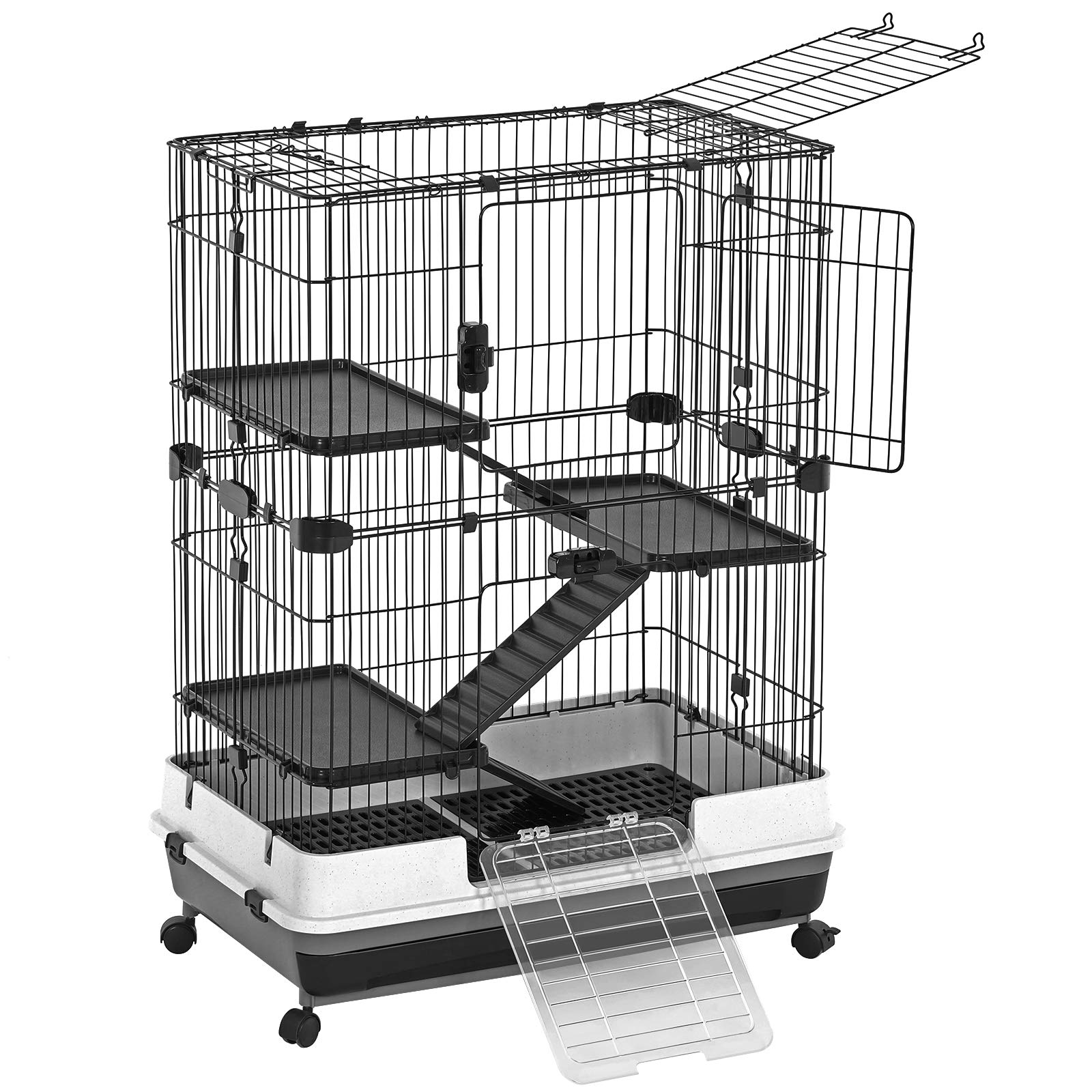 SONGMICS 4-Level Small Animal Pet Cage, Ferret Chinchilla Playpen Hutch with 3 Platforms, 3 Ramps, Leakproof Litter Tray, 3 Doors, and Lockable Wheels, Black UPSC02BK by SONGMICS