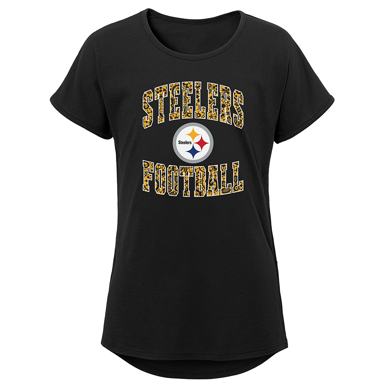 Outerstuff NFL NFL Pittsburgh Steelers Youth Girls Team Lace Short Sleeve Dolman Tee Black Youth Large 14