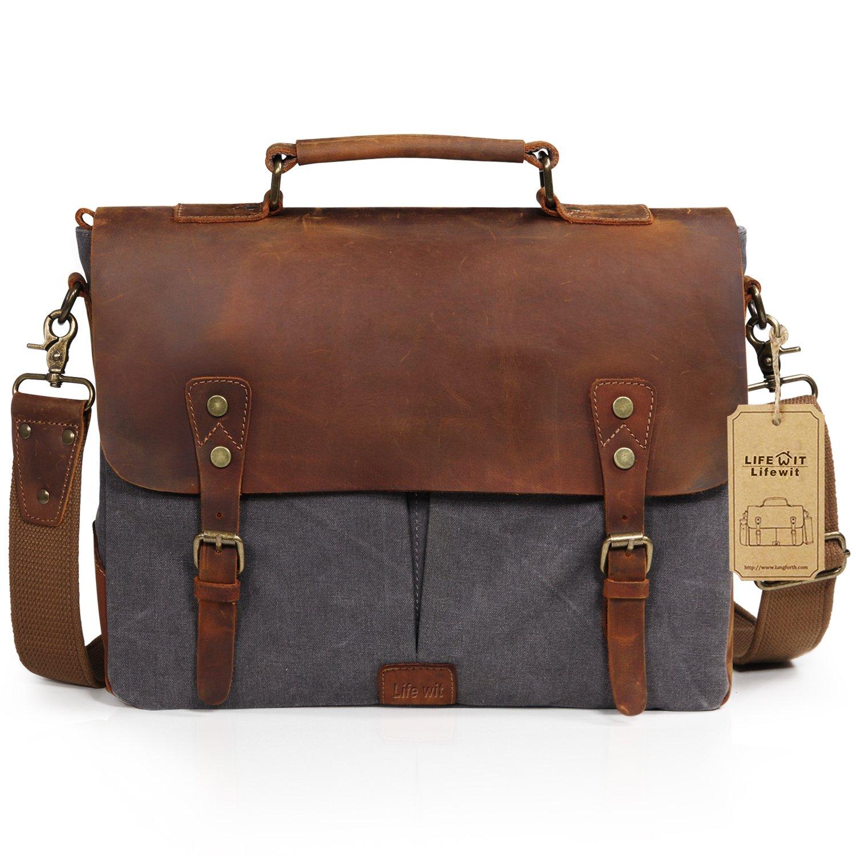 Lifewit Leather Vintage Canvas Laptop Bag, 13''(L)x10.5''(H) x 4.1''(W), Grey