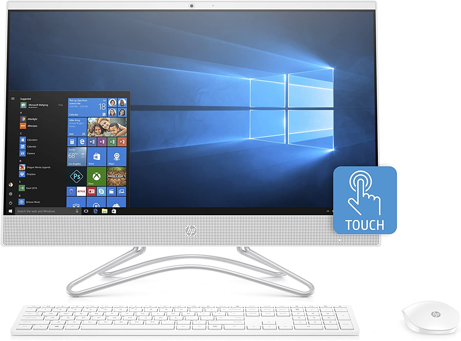 HP 24-Inch All-in-One Computer, Intel Core i5-8250U, 12GB RAM, 1TB Hard Drive, Windows 10 (24-f0060, White)
