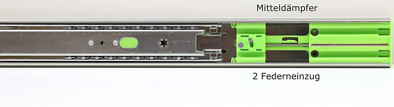 Schubladenschienen Schubladenausz/üge Teleskopausz/üge Selbsteinzug D/ämpfer Vollauszug Softclose 45 mm H/öhe 350 mm L/änge 1 Paar