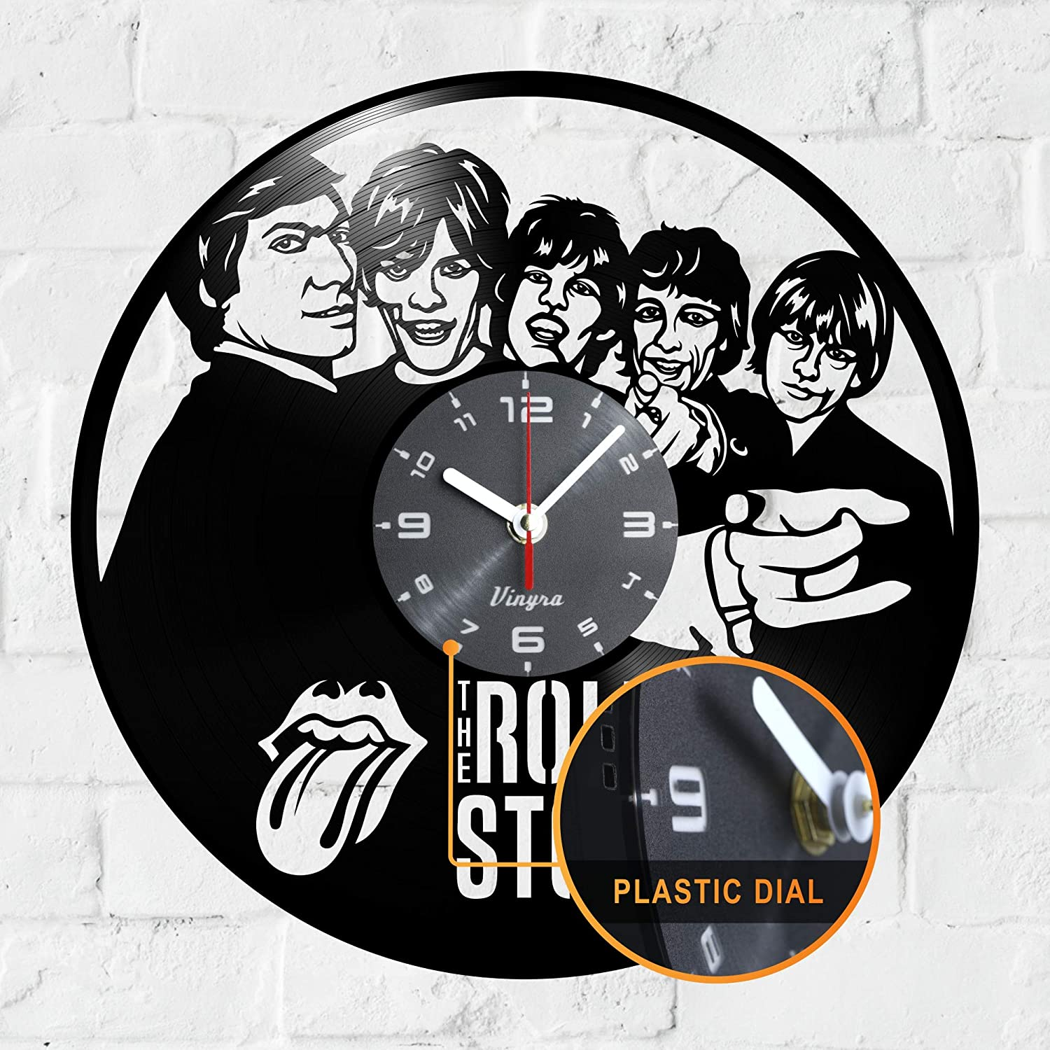 "Vinyra Vinyl Wall Clock compatible with Rolling Stones Mick Jagger Themed Vintage Home - Gift Set Idea for Retro Rock Music Lovers, Men, Women, Her, Him - Room Wall Art Decor 12"" LP Record Clock Black"