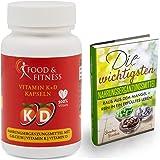 Vitamin K2 + K1 + D3 + Calcium komplex, hochdosiert, Vegane Kapseln, Hohe Bioverfügbarkeit, incl. ausführlichem eBook zu Nahrungsergänzungen, 90 Kapseln made in DE von Food & Fitness