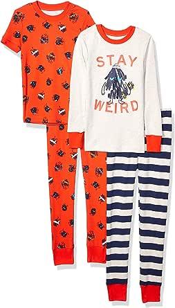 Spotted Zebra Pijama de algodón de Ajuste cómodo Niños, Pack de 4