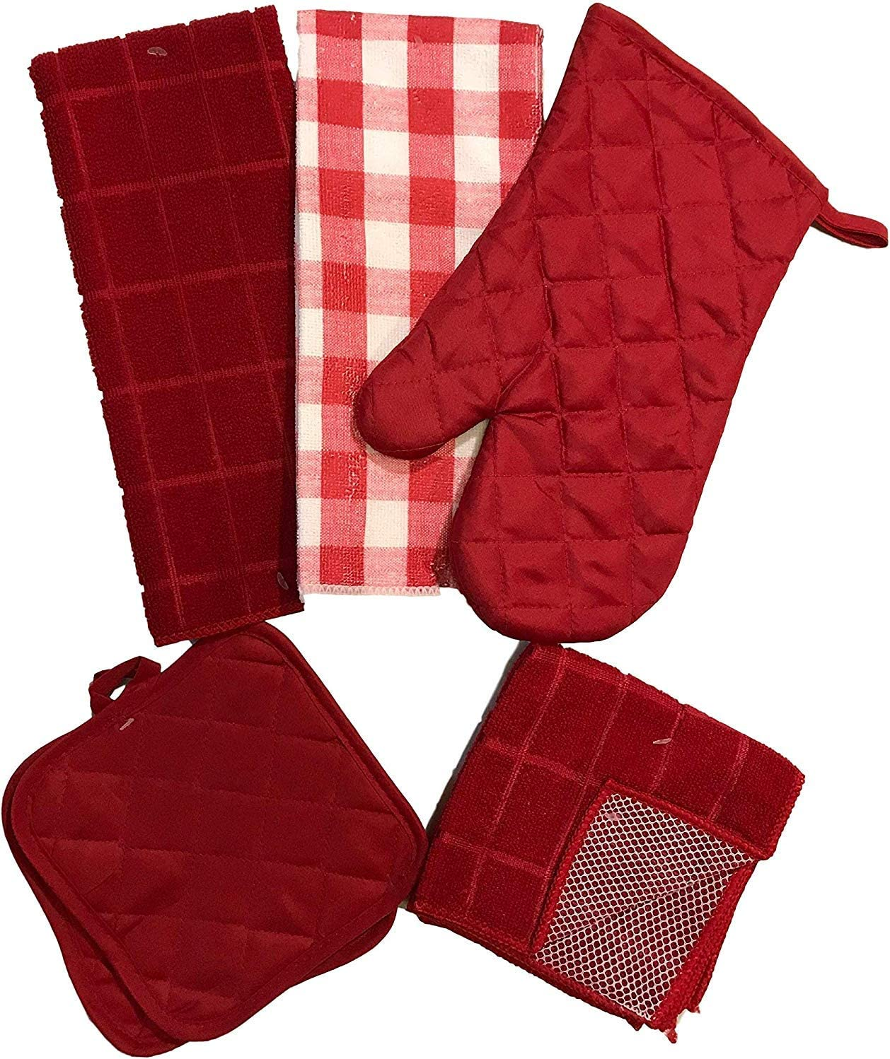 Red /& White Checkerboard 7 Piece Kitchen Linen Bundle with 2 Dish Towels and 1 Oven Mitt 2 Dish Cloth Scrubbers 2 Potholders