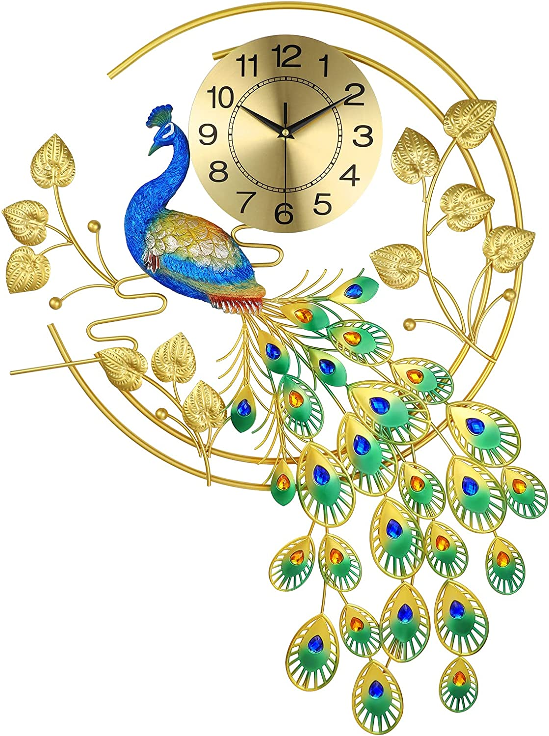 EURSON Large Peacock Wall Clocks for Living Room Decor Silent Non-Ticking 3D Quartz Metal Wall Clocks Crystal Modern Art Decorative for Bedroom and Kitchen (Blue&Green)