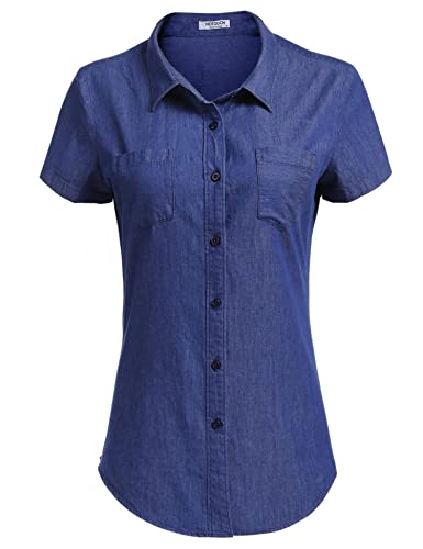 1940s Blouses and Tops HOTOUCH Womens Basic Casual Slim Button Down Denim Chambray Shirt $21.99 AT vintagedancer.com