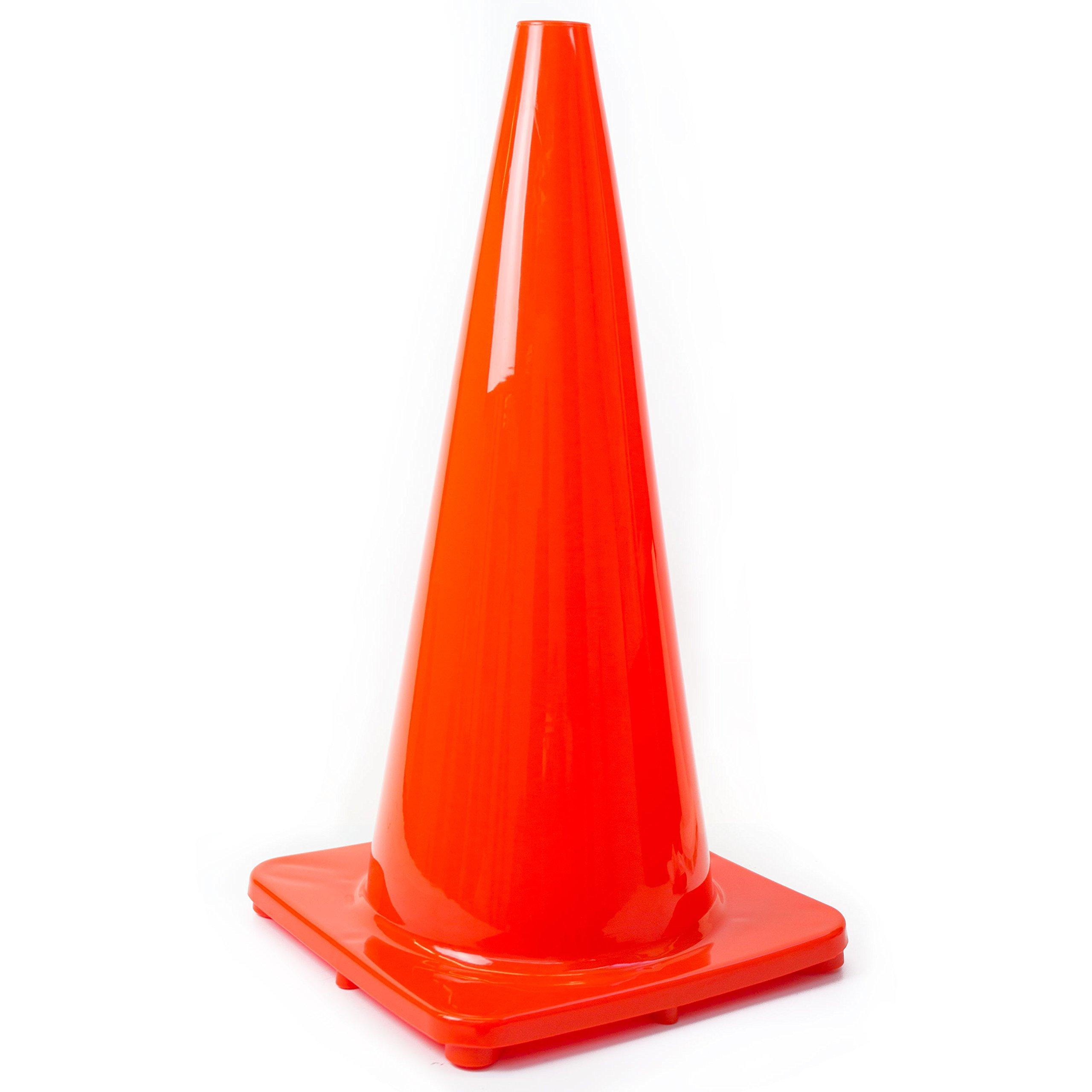 (Set of 8) 28'' RK Orange Safety Traffic PVC Cones, Orange Base